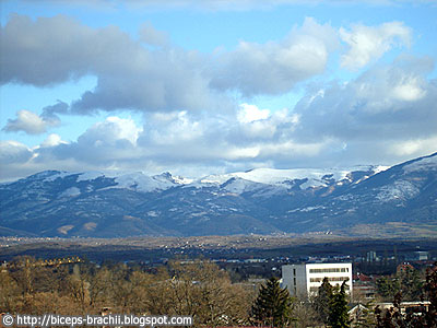 Clouds in the sky over snowy Skopje's Black Mountain (Skopska Crna Gora)