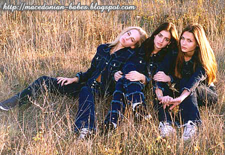 Three Macedonian girls as models of ready-made clothing house 'MakJeans'