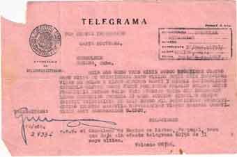 Telegrama Secretaria de Relacions Exteriors Habana, Cuba