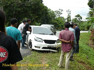 White Toyota Vios Accident