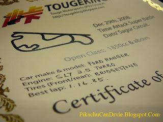 Kg. Gajah Time Attack Certificate