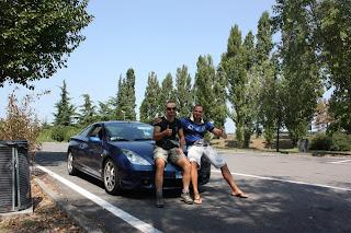 Lorenzo y yo en la maquina después de llegar a Italia