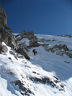 Lance negotiating the summit Exit couloir