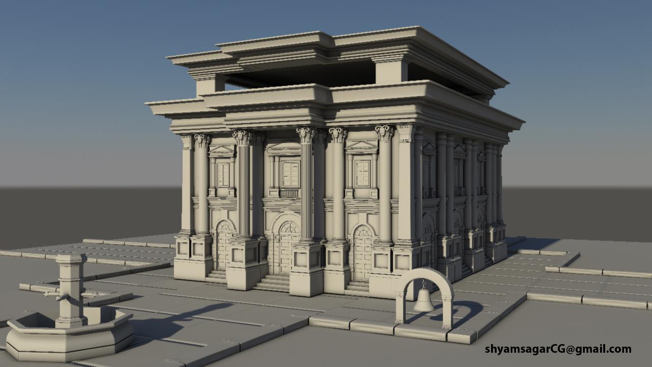 3d artist shyamsagars 3d exterior set modeling for Exterior 3d model