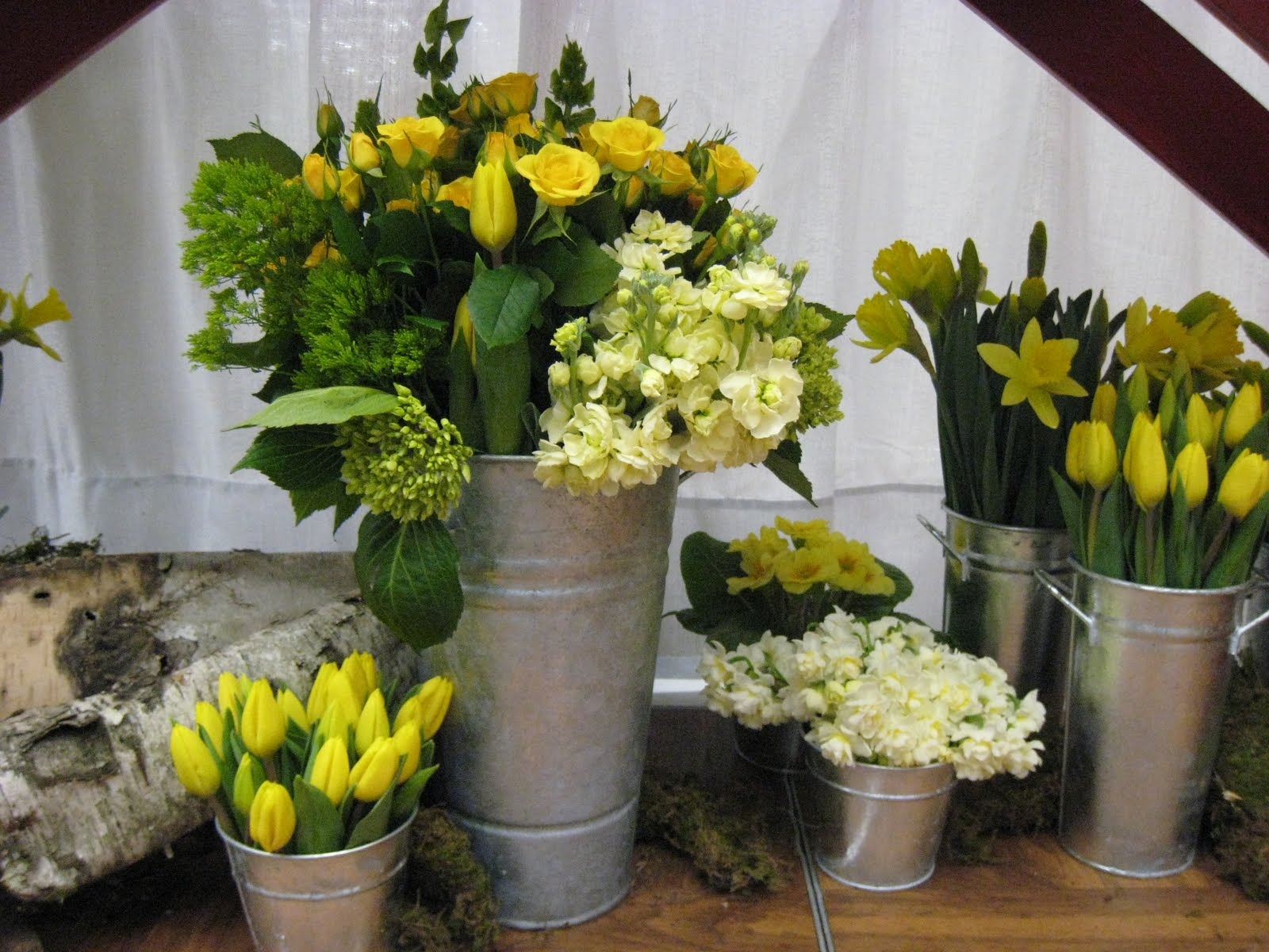Spring Flowers In French Flower Buckets