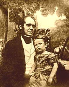 Charles Darwin and his son