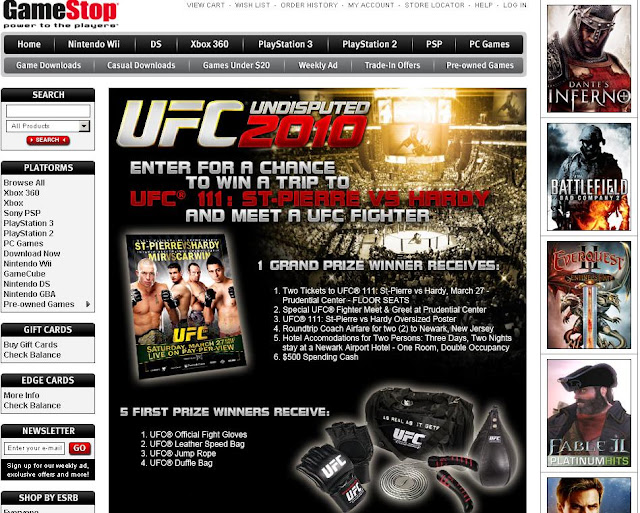 Www.gamestop.com/ufc2010 - GameStop So You Wanna Be a Fighter Contest