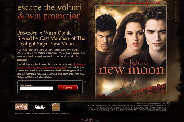 Escape the Volturi, Win Sweepstakes & Instant Win Game
