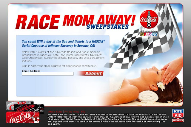 Coca-Cola Rite Aid Race Mom Away Sweepstakes, Racemomaway.com