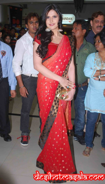 Zarine Khan in Red Saree - Zarine Khan in Saree - hOT Pics