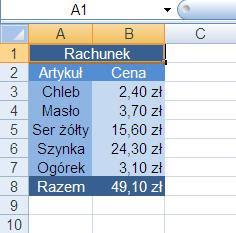 rachunek sklepowy w Excelu