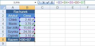 dodawanie w Excelu