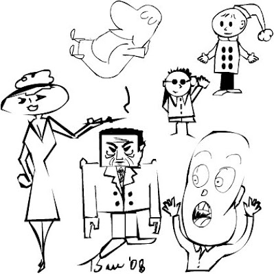 Sketches by cartoonist Tony Sarrecchia