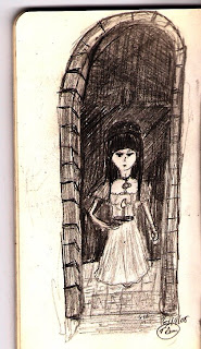 Sketch of girl in doorway by Tony Sarrecchia