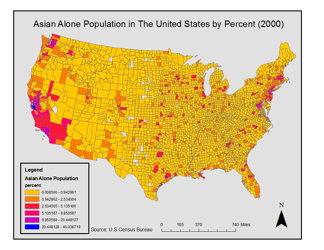 the first map shown above is the asian alone population in the united states by percent it shows the asian population across the united states county
