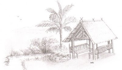 Nipa Hut Drawing Sketch Coloring Page
