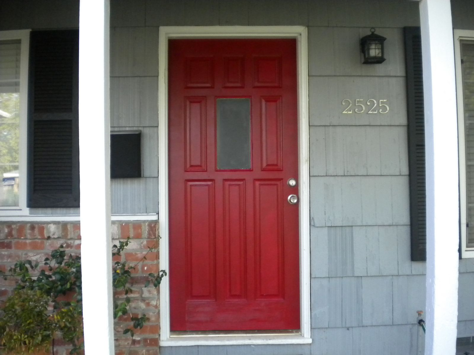 Posh red our front door updated home depot center Front door color ideas for brick house