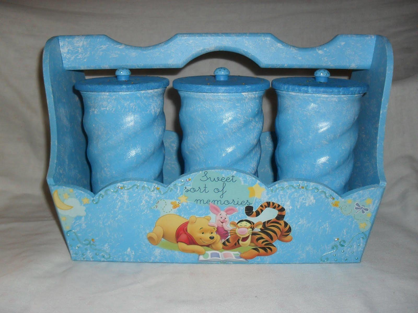 Aparador Antigo Laqueado ~ Meninas Usemann Artesanatos Kit higiene Pooh e amigos
