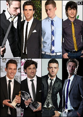 skinny tie, 2009 fashion for men, neck tie for men, neck tie this 2009, narrow tie, men's neck tie, Jonathan Rhys Myers, Zachary Quinto, spock of star trek, Justin Timberlake, Patrick Dempsey