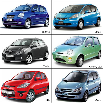 City Cars, Hyundai Getz, Hyundai i10, Honda Jazz, Toyota Yaris, Kia Picanto, Cherry QQ