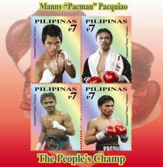 Manny Pacman Pacquiao Honored in Philippine Stamp, Manny Pacquiao Stamp, Postal Stamp for Pacman, Selyo ng Sulat o Sobre na Larawan ni Manny