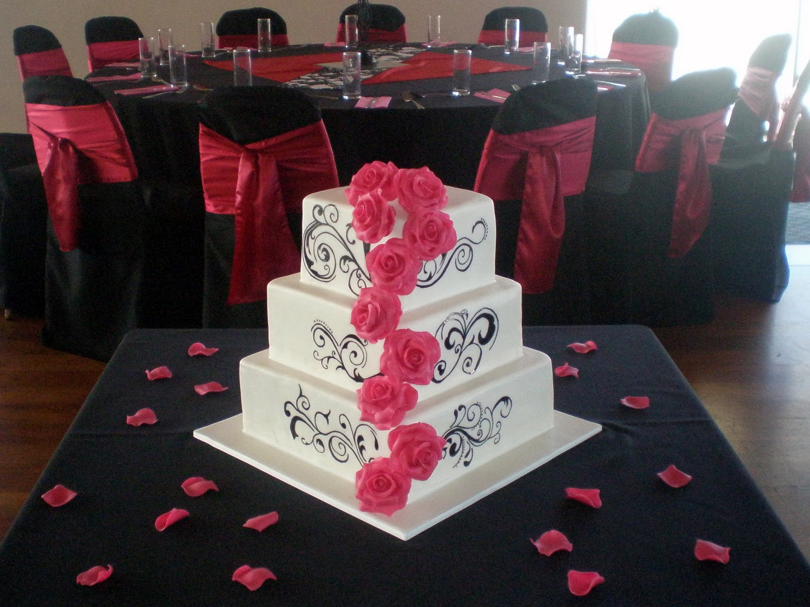 Hot Pink Square Wedding Cakes Viewing Gallery