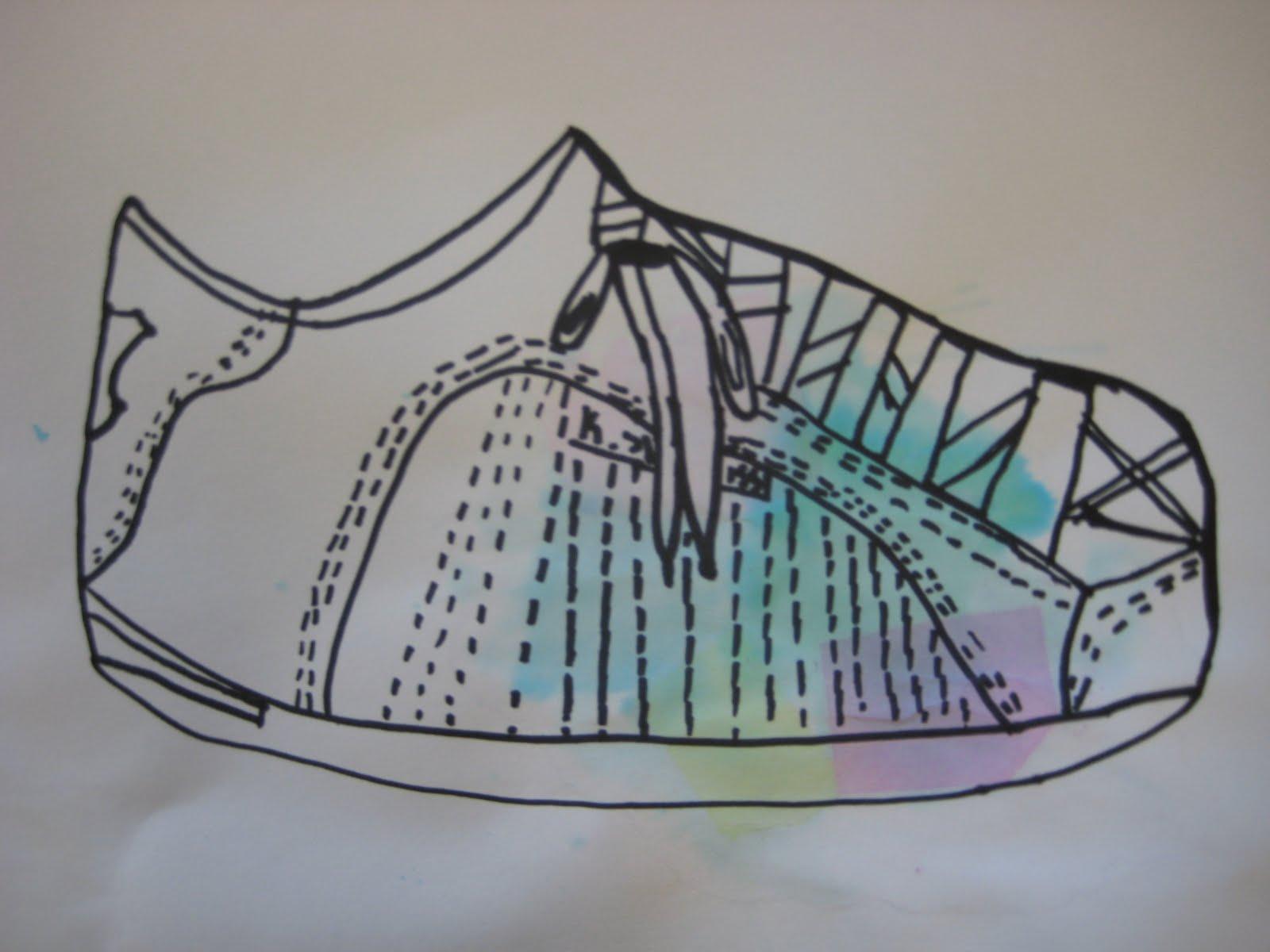Contour Line Drawing Shoes Lesson Plan : Studio contour shoes th grade