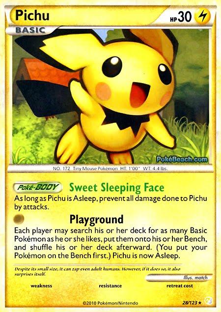 Pokemon card of the day pichu heart gold soul silver - Pokemon argent pokemon rare ...