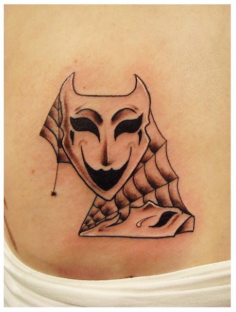 Theatre mask tattoo  image,tattoo models,swallow tattoos,swallow tattoo,spearrow tattoos,tattoo sketches,tattoo designs,tribal tattoo designs