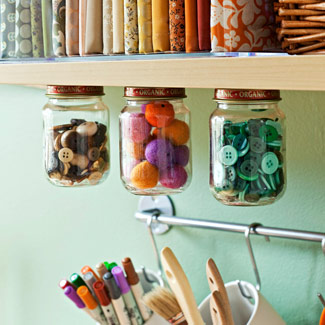 Craft Ideas Buttons on And Secure Mason Jar Lids To The Bottom Of A Shelf  Fill With