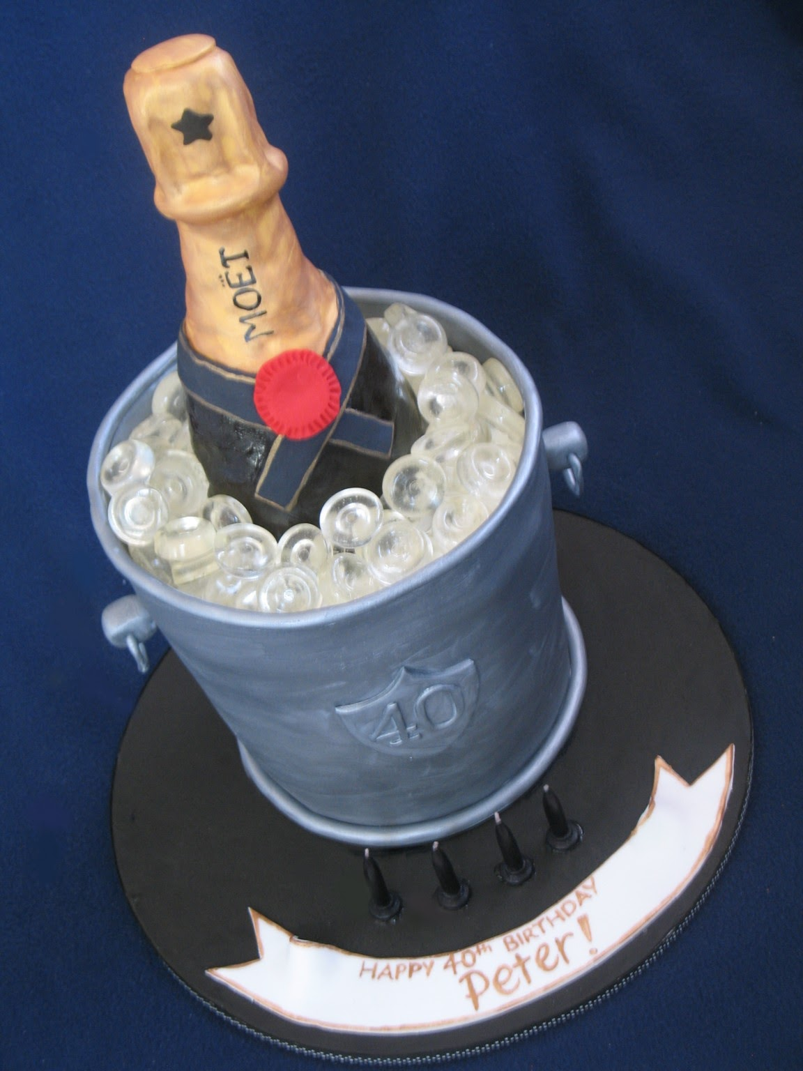 Blissfully Sweet: Champagne Bottle in Bucket 40th Cake