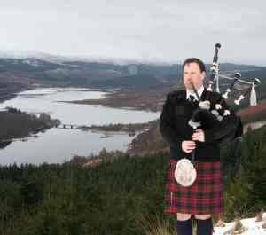 Edward Channon playing the Bagpipes