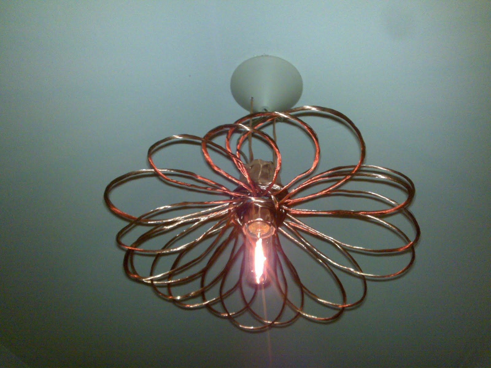 lampadario in rame : Lampadario In Rame : La luce tra il Rame: lampadario in fiore