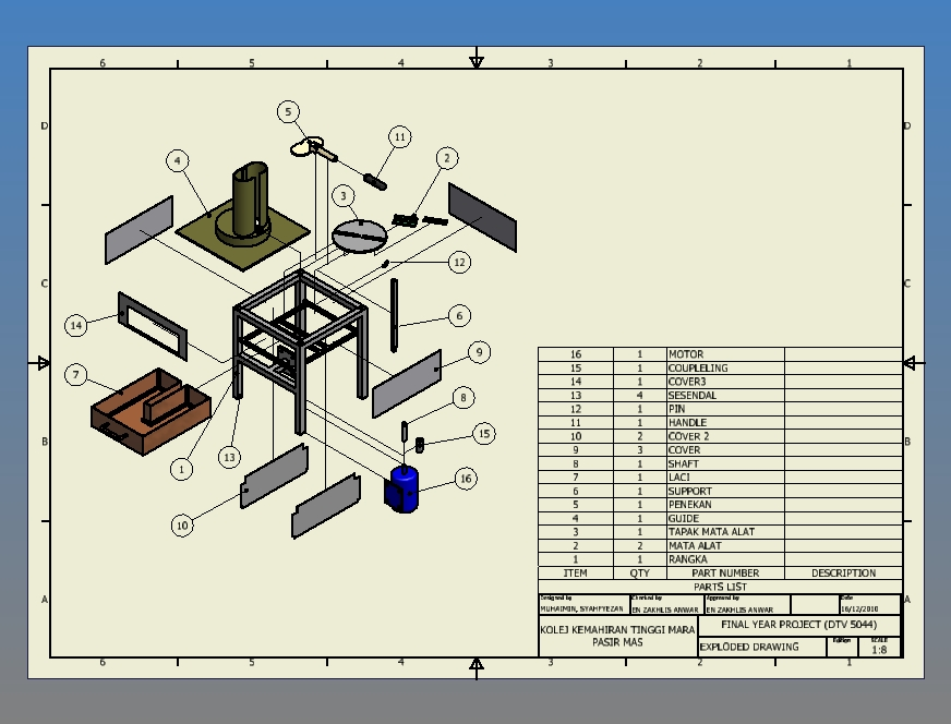 Mesin Merincih Ubi Kayu  Detail Exploded And Assembly Drawing