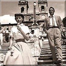 Audrey Hepburn y Gregory Peck en la pelicula '' Vacaciones en Roma'' de 1953