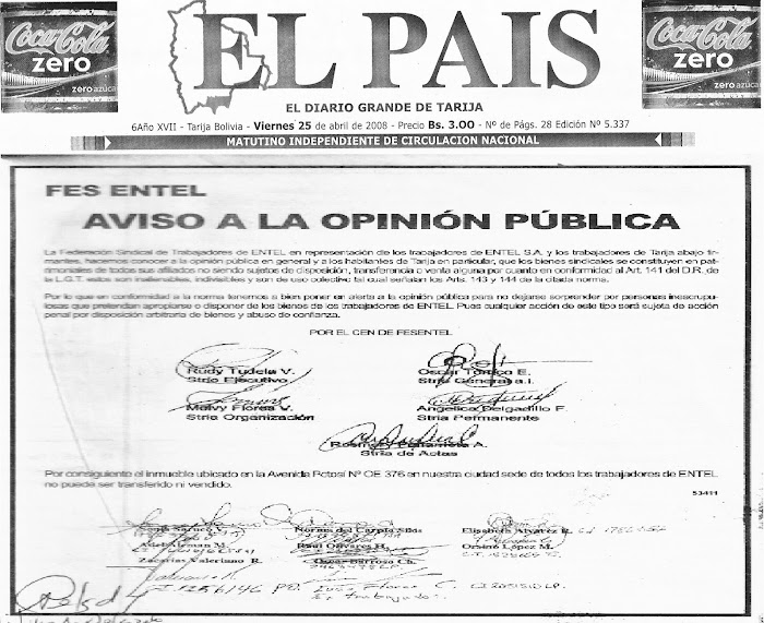 AVISO FESENTEL Y TRABAJADORES DE BASE