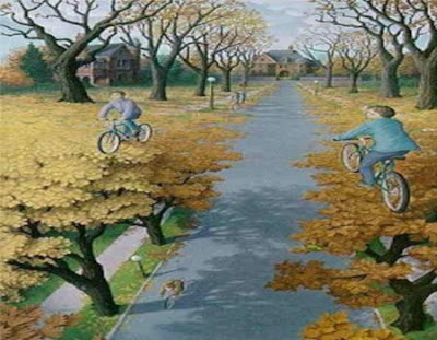 Bicycle Optical Illusion - Tree Illusion