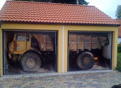 Garbage Truck on Garage Door Illusion