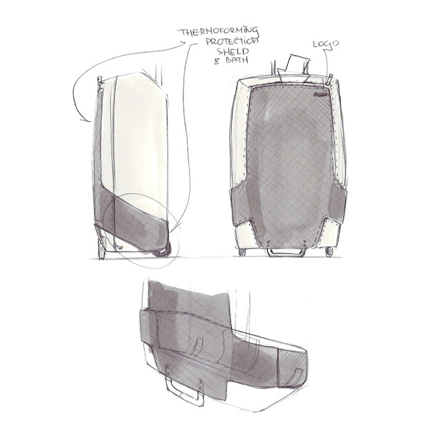 Wheeled luggage design sketch 2