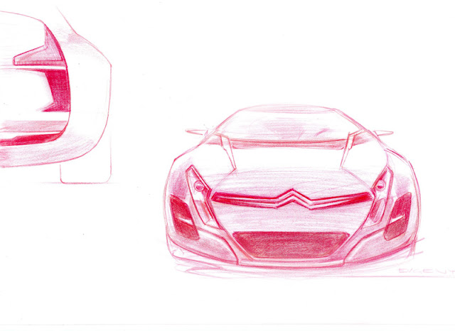 Citroen C-Metisse concept pencil drawing