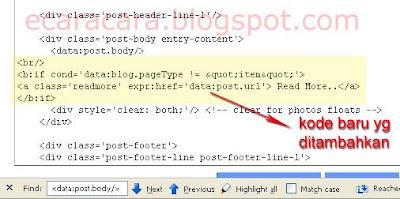 menambahkan kode untuk membuat read more