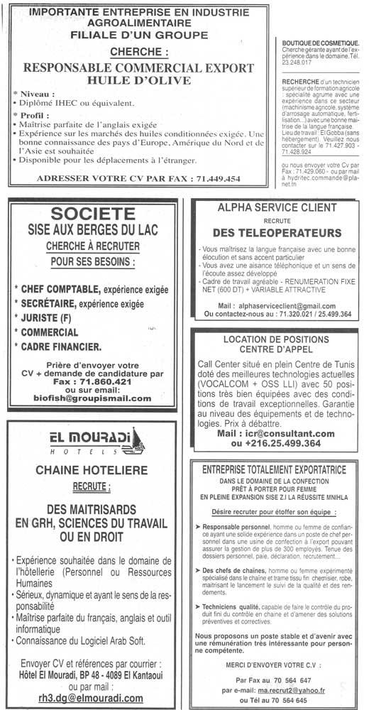 Recrutement en tunisie offre d 39 emploi du 09 10 2011 source journal la presse - Offre d emploi pret a porter ...