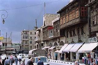 Aleppo street scene near Grand Mosque