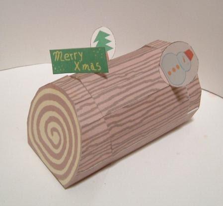 Xmas Log Gift Box Papercraft Papercraft Paradise