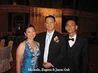 Newlywed Michelle and Eugene with Jason Geh, the wedding music band manager