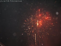 Massive fireworks display during the launch