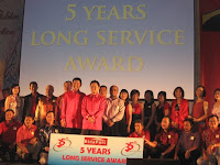 5 year long service award recipients. Awards were also given out to 10, 15, 25, 30 and 35 year employees