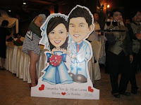 The caricature of wedding couple Alban and Samantha