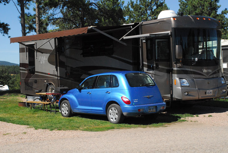 Parked at the Rapid City Rushmore Shadows RV Park With Our PT Cruiser For One Month