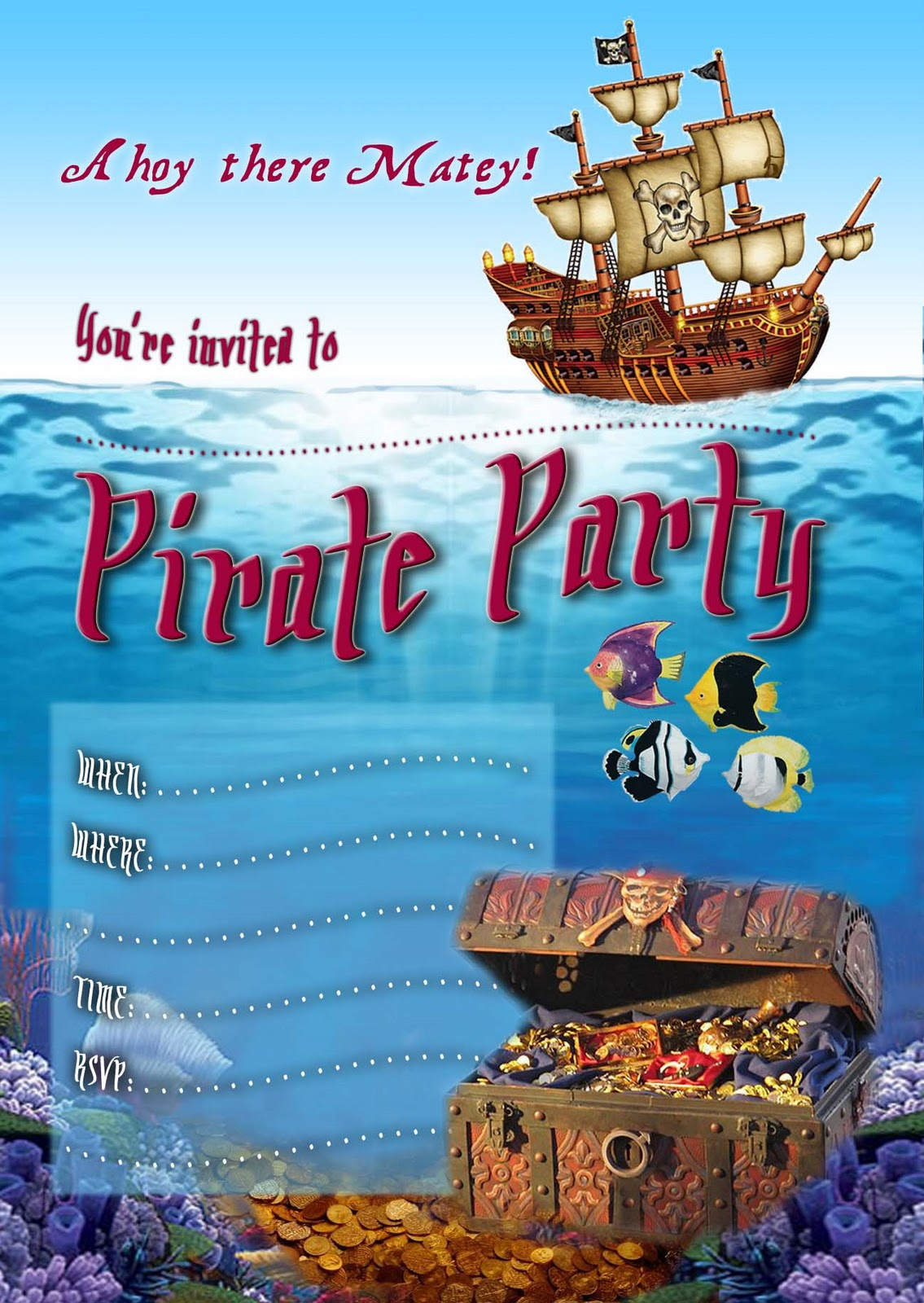 FREE Kids Party Invitations Pirate Party Invitation – Kids Pirate Party Invitations